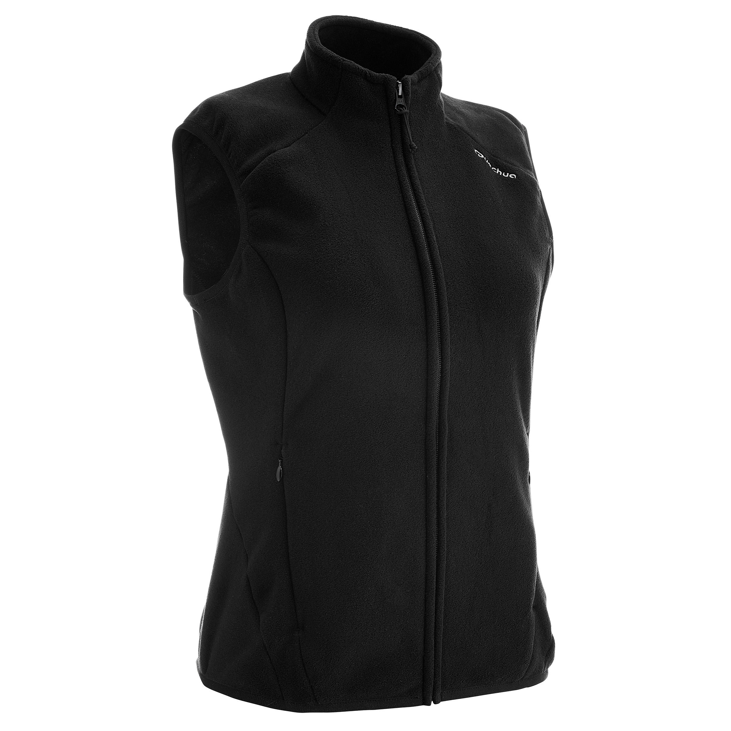 MH120 Women's Mountain Hiking Fleece Vest - Black