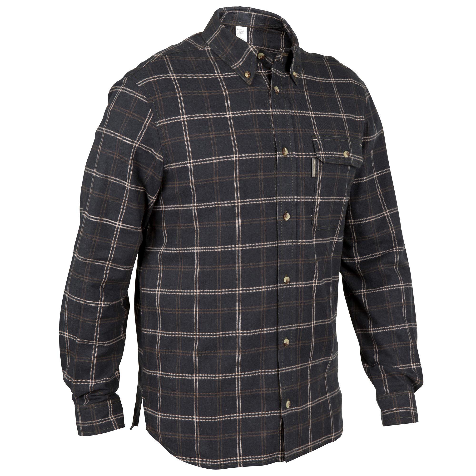 Solognac Overhemd 100 met lange mouwen voor de jacht