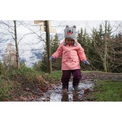 女童款2到6歲保暖雪地健行外套SH100 WARM-紫紅色