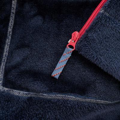 ג'קט קפוצ'ון פליז חמים לטיולים רגליים לבנות - כחול נייבי