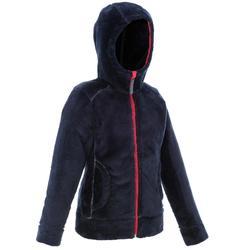 女童保暖刷毛連帽外套 - 海軍藍