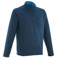 男款登山健行刷毛外套Forclaz 50-軍藍色