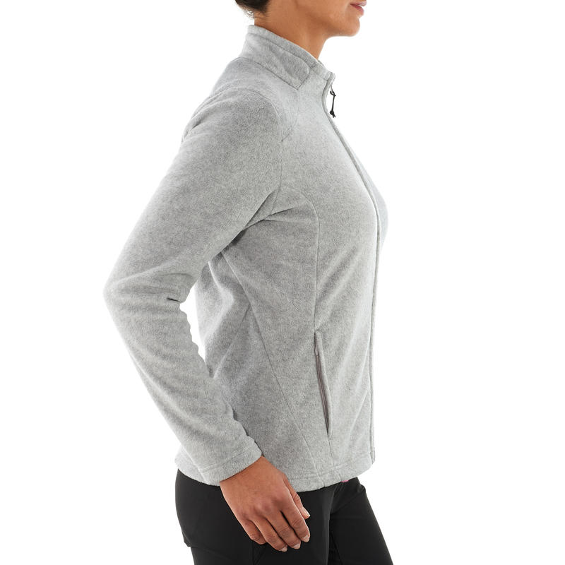 Women's MH120 mottled grey mountain hiking fleece jacket