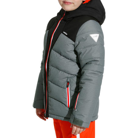 CHILDREN'S SKI JACKET WARM 500 - GREY AND BLACK