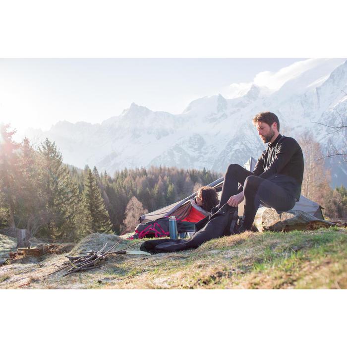 Herenshirt met lange mouwen voor trekking in de bergen Techwool 190 rits zwart