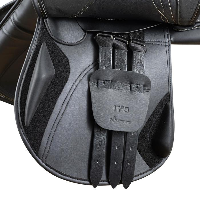 """Silla mixta sintética con arzón ajustable equitación caballo RIDE2 negro 17""""5"""