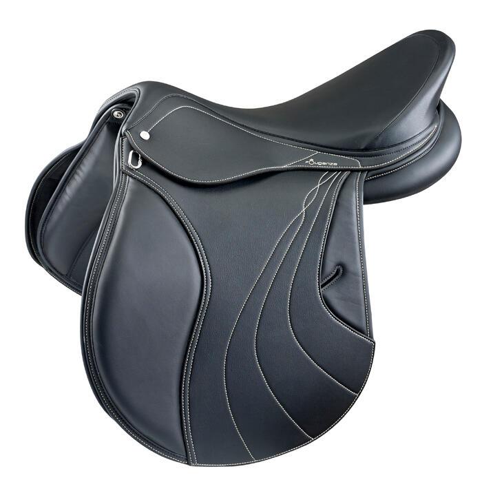 """Selle polyvalente synthétique à arçon réglable équitation cheval RIDE noir 17""""5"""