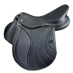 """Selle mixte synthétique à arçon réglable équitation cheval RIDE 2 noir 17""""5"""
