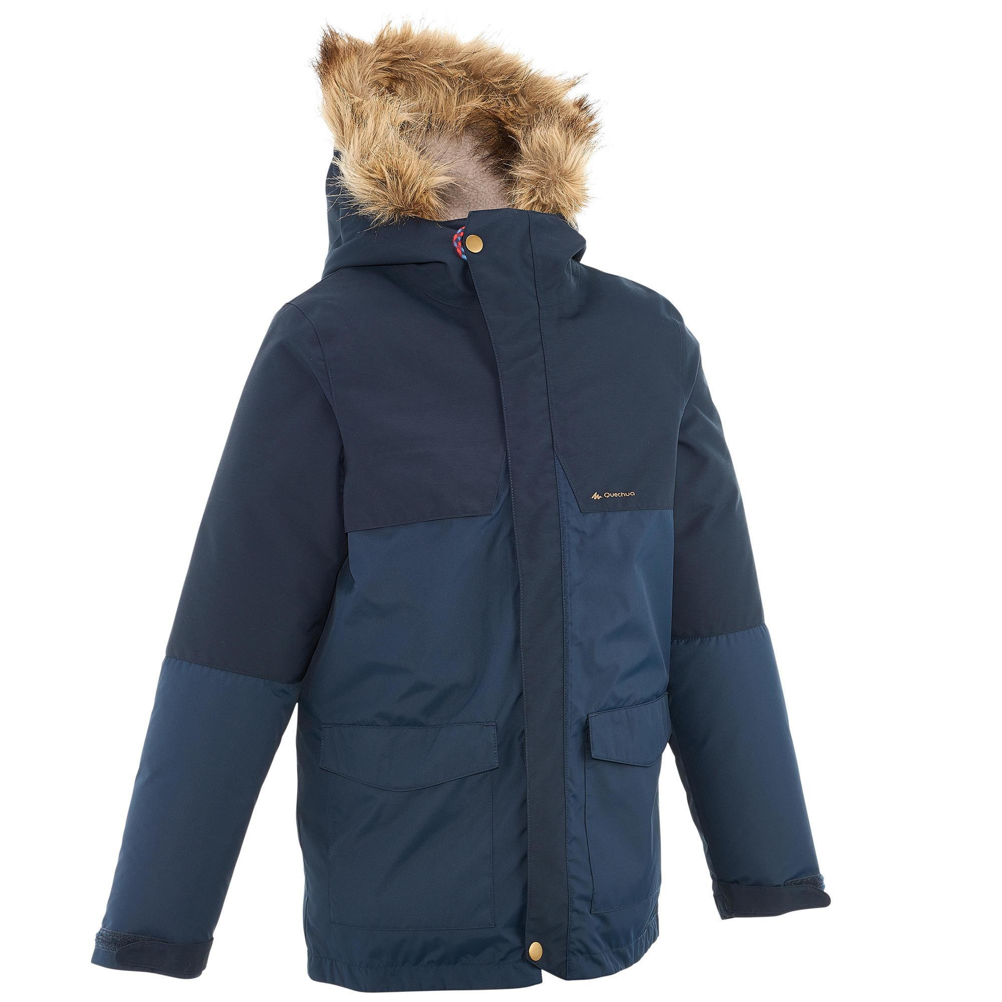 XX Warm Boys' Hiking Warm Waterproof Jacket - Navy | Quechua