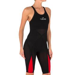 Neopreno de competición de natación FINA mujer B-Fast Negro Rojo