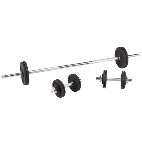halteres e barras de muscula o 50 kg conjunto domyos by decathlon. Black Bedroom Furniture Sets. Home Design Ideas