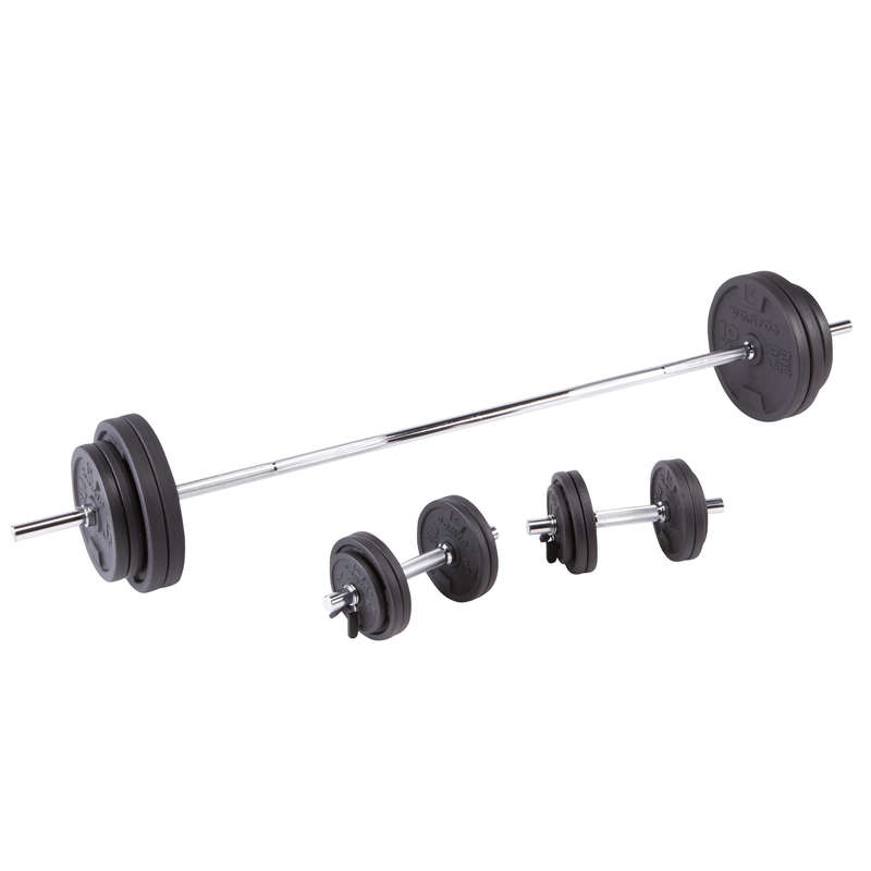 BODYBUILDING GUIDED EQUIPMENT Fitness and Gym - Dumbbells and Bars Kit 93 kg DOMYOS - Fitness and Gym
