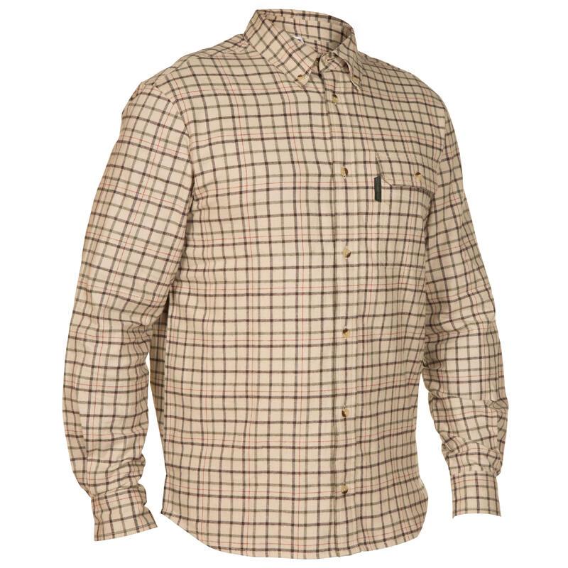 Overhemd Taiga 100 voor de jacht beige