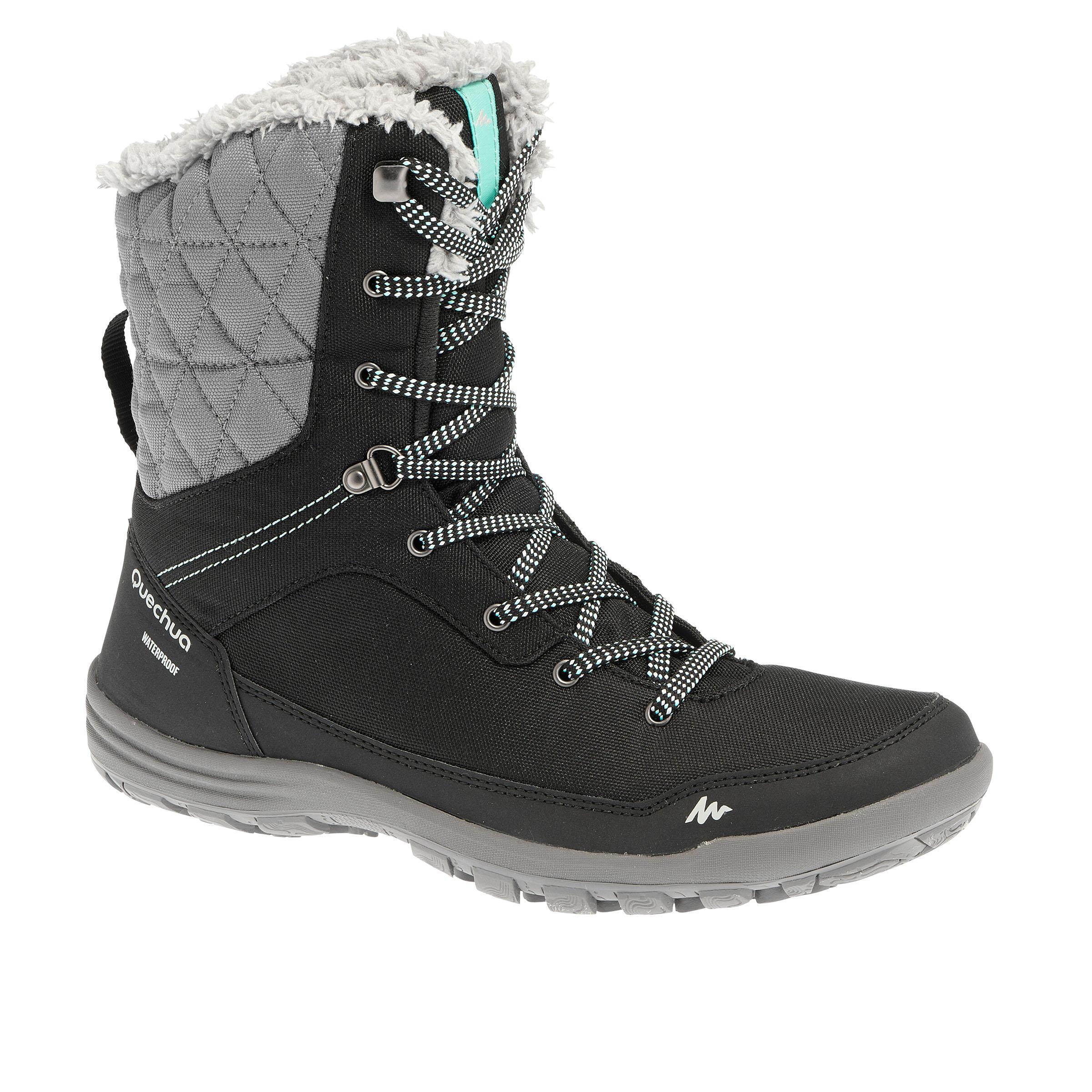 Chaussures de randonnée neige femme SH100 chaudes hautes noir
