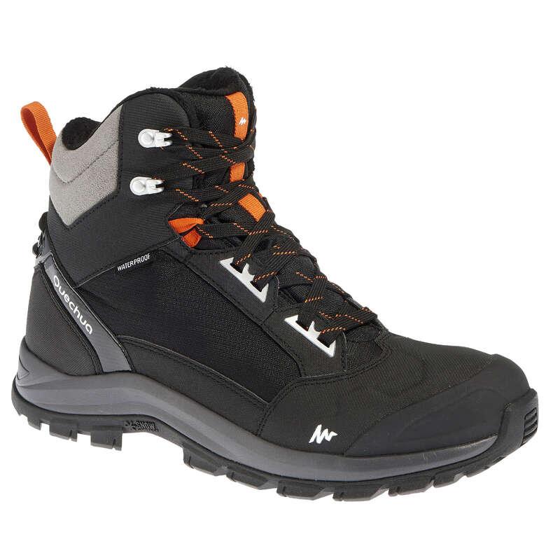 MEN SNOW HIKING WARM SHOES & GRIPS Hiking - Forclaz 500 Warm Men's Snow Boots - Black QUECHUA - Outdoor Shoes