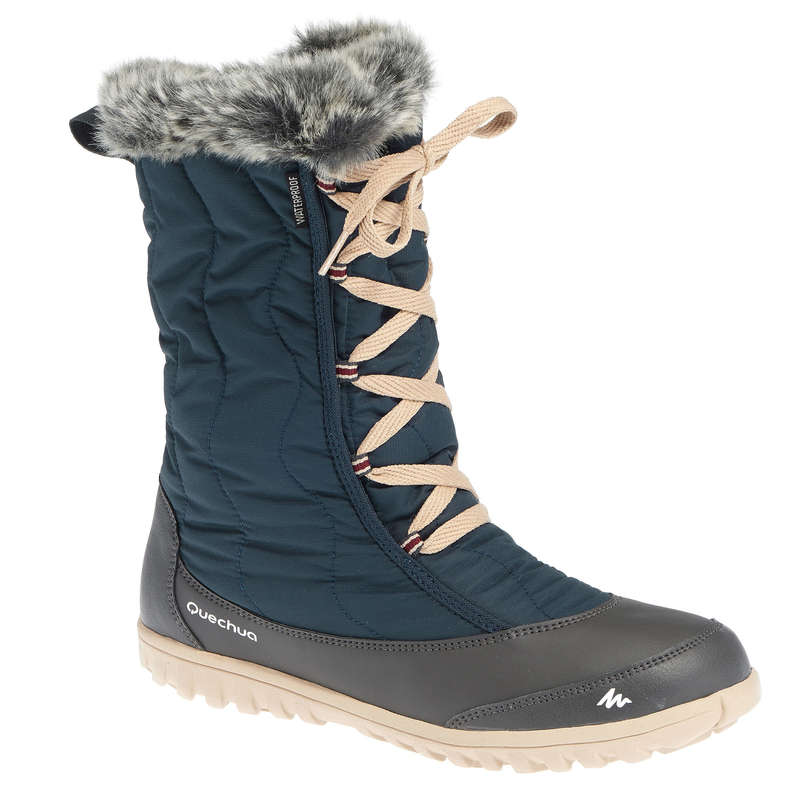 WOMEN SNOW HIKING WARM BOOTS Hiking - Arpenaz 500 Warm Women's Snow Boots - Dark Navy QUECHUA - Outdoor Shoes