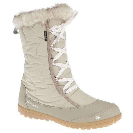 Bottes de randonnée neige femme SH900 chaudes et imperméables Beige