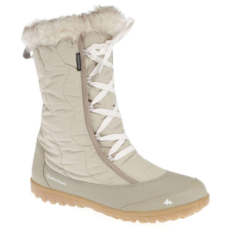 WOMEN SNOW HIKING WARM BOOTS Hiking - Arpenaz 500 Warm Women's Snow Boots - Beige QUECHUA - Outdoor Shoes