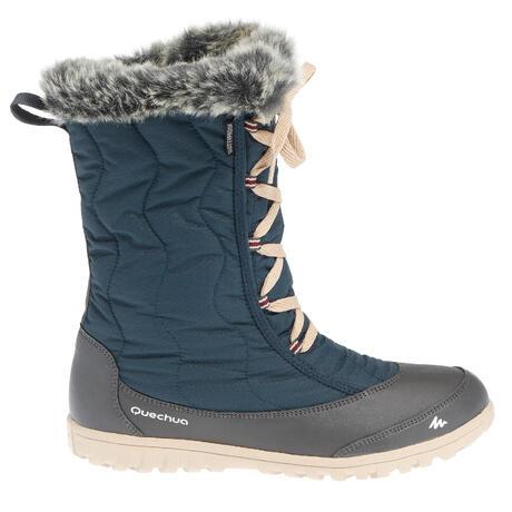 bottes de randonnee neige femme sh900 chaudes et impermeables bleu  marine quechua