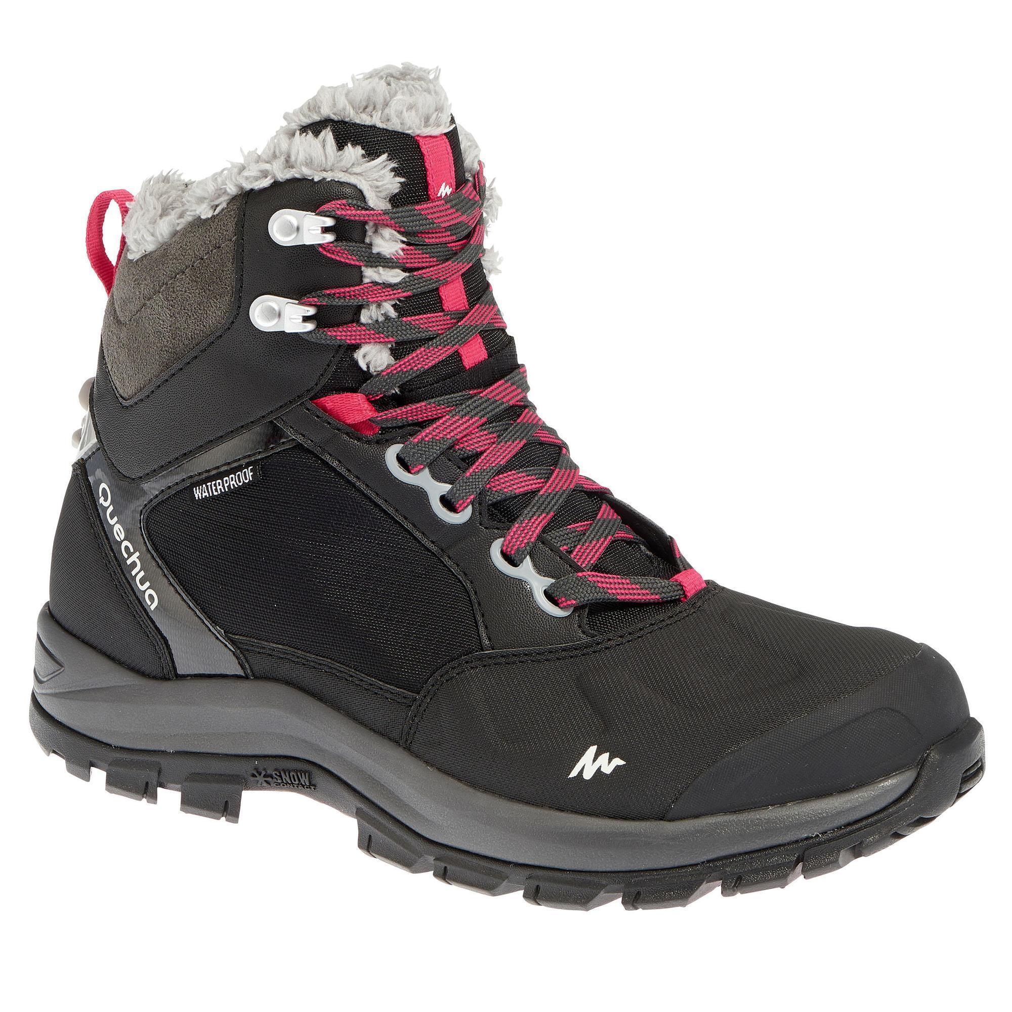 chaussures de randonn e neige femme sh500 active chaudes et imperm ables noir quechua. Black Bedroom Furniture Sets. Home Design Ideas