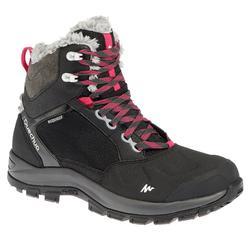 女款保暖雪地健行中筒雪靴SH520-黑色