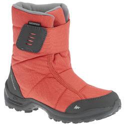青少年保暖健行雪靴SH100-珊瑚紅