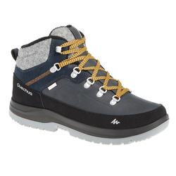 男款超保暖雪地健行中筒靴SH500-藍色。