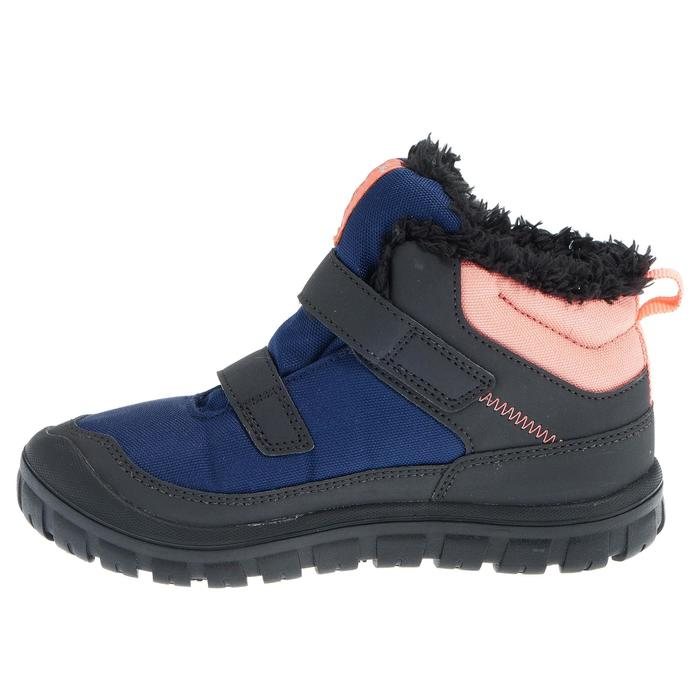 兒童款中筒保暖魔鬼氈雪地健行靴SH100-軍藍色