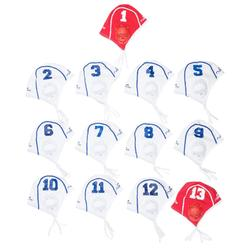 Set van 13 witte badmutsen voor waterpolotraining volwassenen