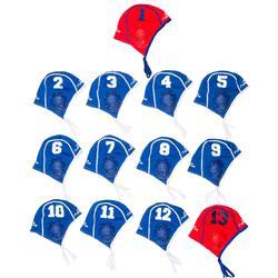 Set van 13 blauwe badmutsen voor waterpolotraining volwassenen