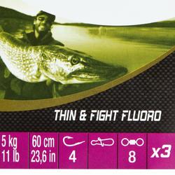 Bas de ligne pêche carnassier THIN & FIGHT simple/fluo 5 kg