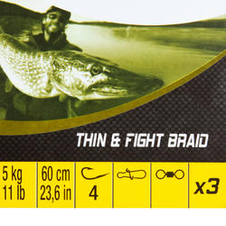 Bas de ligne pêche carnassier THIN & FIGHT 5 kg x 3