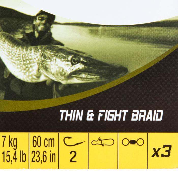 Onderlijn voor roofvissen Thin & Fight 7 KG x 3