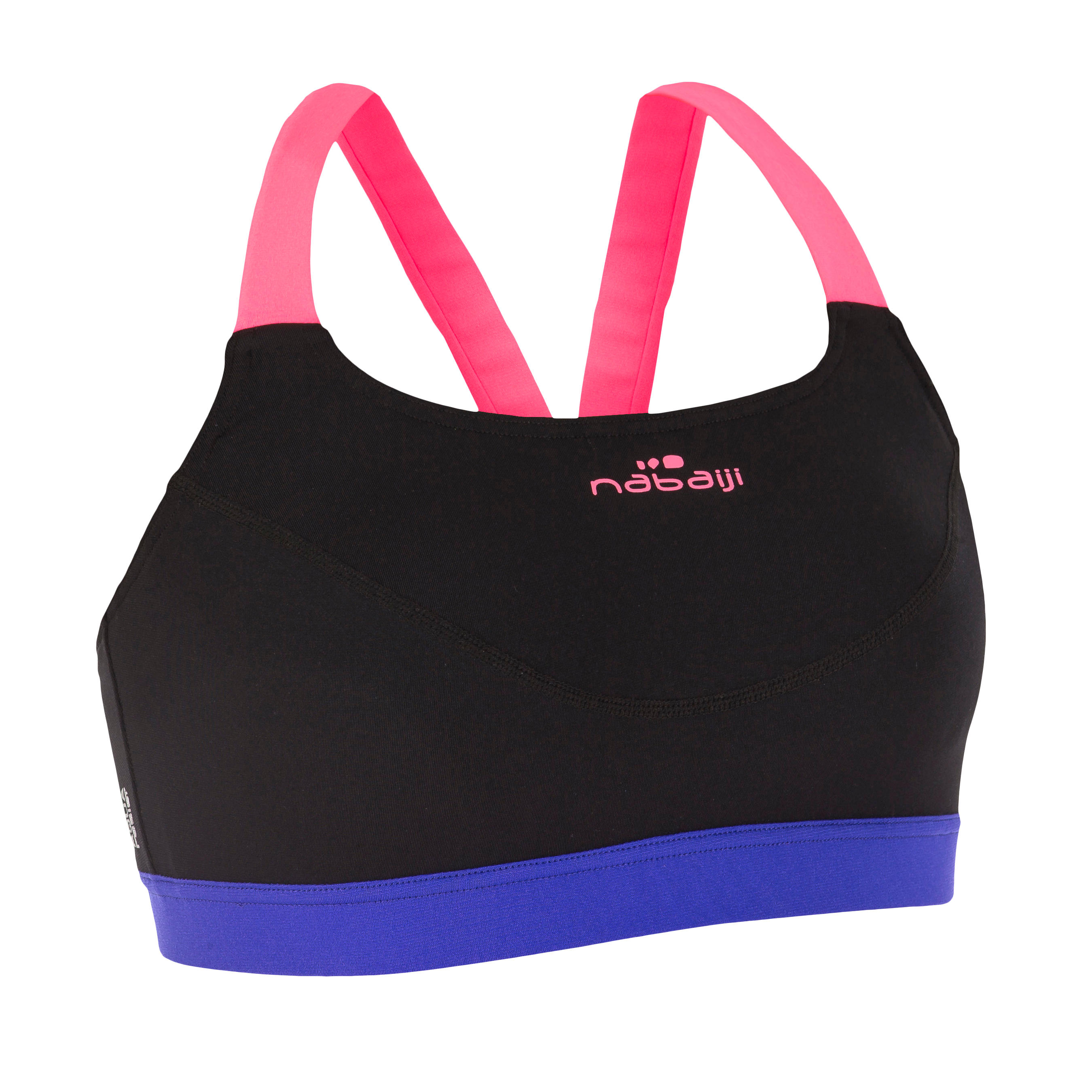 Anna Women's Chlorine-Resistant Aquabiking Crop Top - Hitam Pink