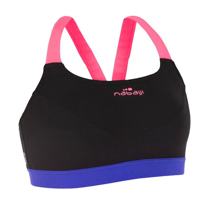 Top de aquabike para mujer resistente al cloro Anna negro rosado