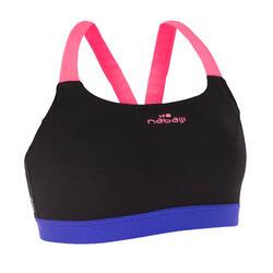 Sujetador-top de aquabike para mujer resistente al cloro Anna negro rosa