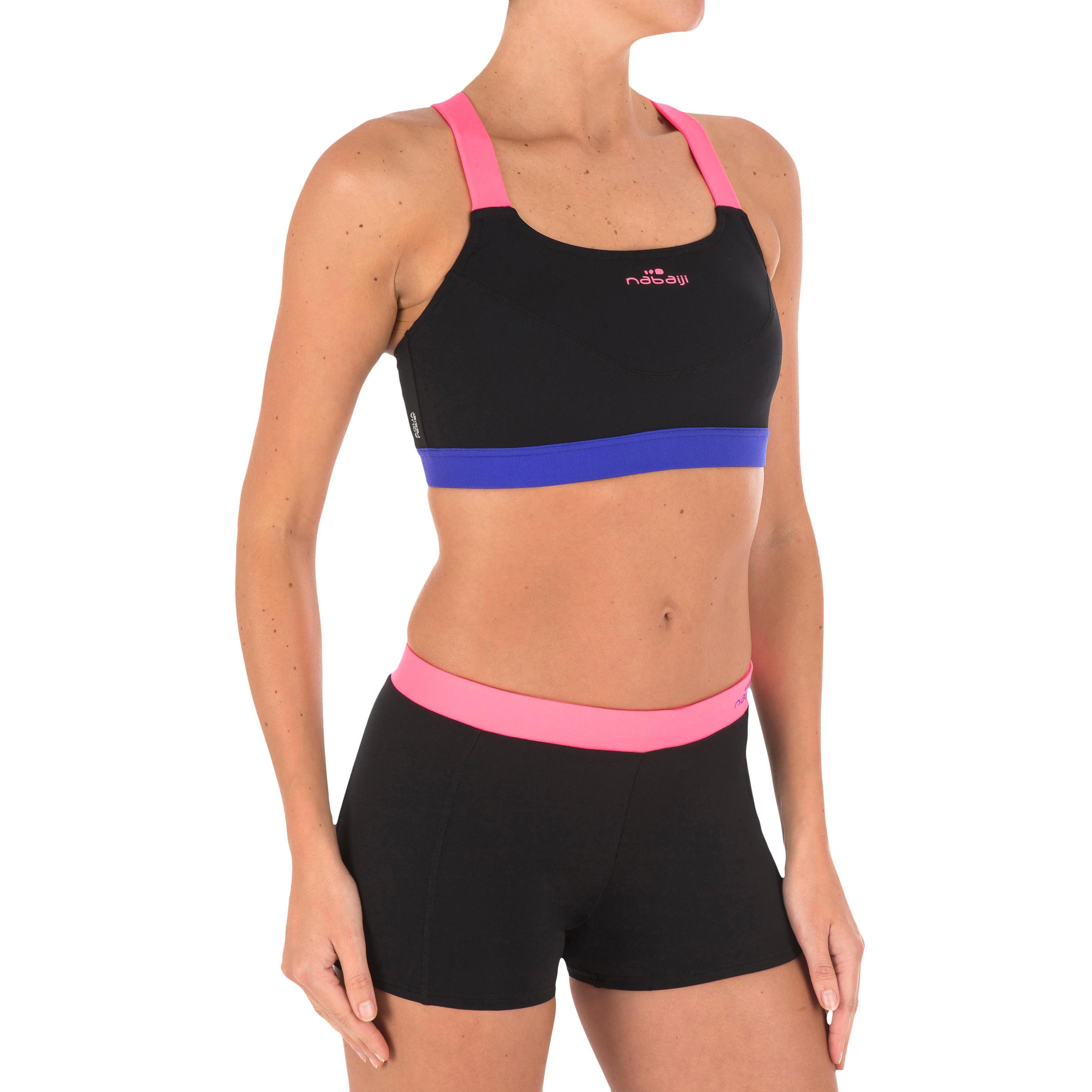 Bas de maillot de bain d'aquacycle femme résistant au chlore Anna noir rose