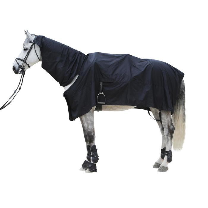 Chemise imperméable équitation poney et cheval PROTECT'RAIN noir - 101323