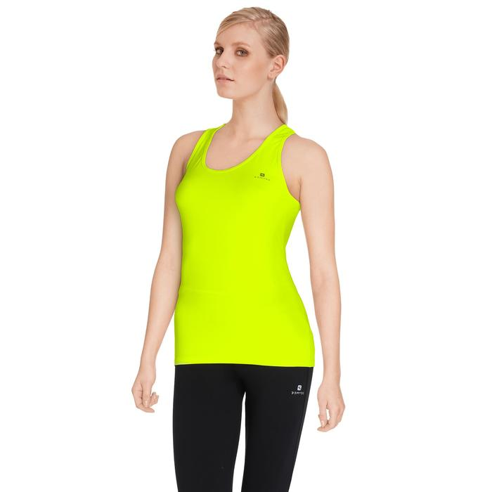 Camiseta sin mangas MY TOP fitness cardio-training mujer amarillo fluo 100