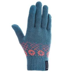 SH100 warm blue junior hiking knitted gloves