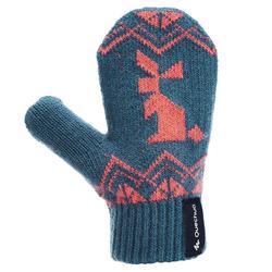 兒童款針織健行手套MH100-藍色/粉紅色