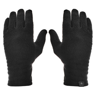 Adult Mountain Trekking Recycled Polyester Liner Gloves - TREK 100 Black