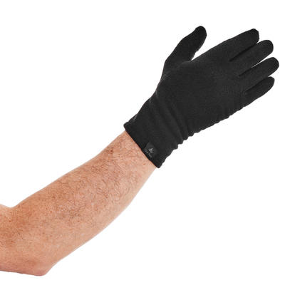 Sous-gants polyester recyclé de trek montagne - TREK 100 noir - adulte