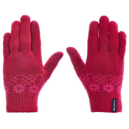 Children's Knitted Hiking Gloves MH100 - Pink