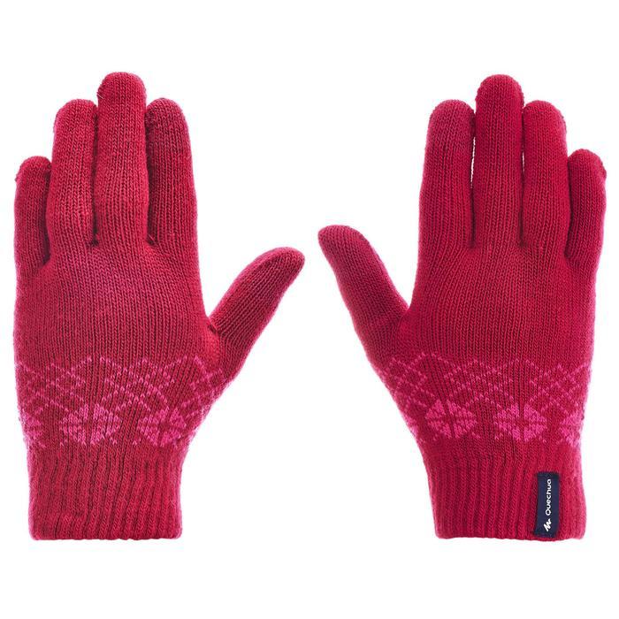 兒童款針織健行手套MH100-粉紅色