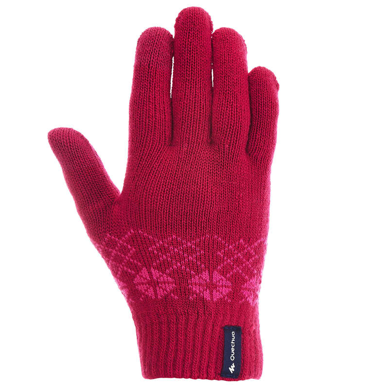 CHILDREN SNOW HIKING GLOVES & WARM SOCKS Hiking - C KNITTED GLOVES MH100 - PINK QUECHUA - Hiking Clothes