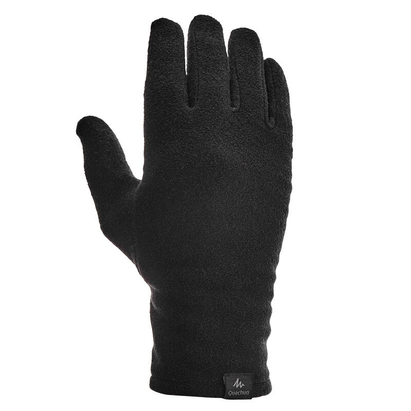 Adult Mountain Trekking Fleece Liner Gloves - TREK 100 - Black