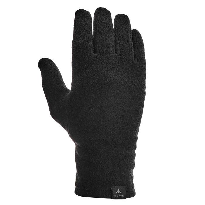 Sous-gants polyester recyclé de trek montagne - TREK 500 noir - adulte