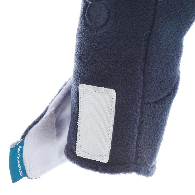 Children's fleece hiking mittens MH100 - Blue