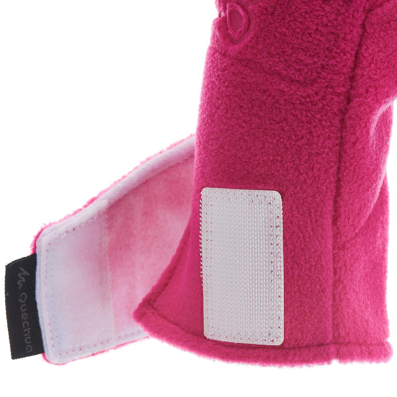 Children's fleece hiking mittens MH100 - Pink